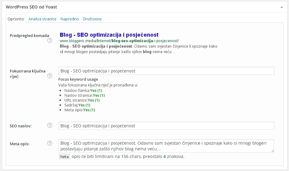 SEO optimizacija blog
