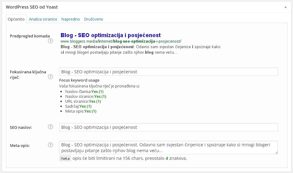 SEO optimizacija blog